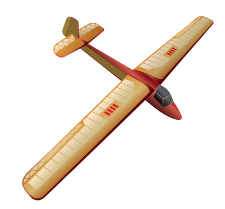 Model glider, flying airplane. Beautiful subtle airplane. Balsa wood wings, model hobby. Master