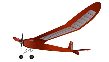 Model glider, flying airplane. Red subtle airplane with propeller. Balsa wood wings, model hobby.