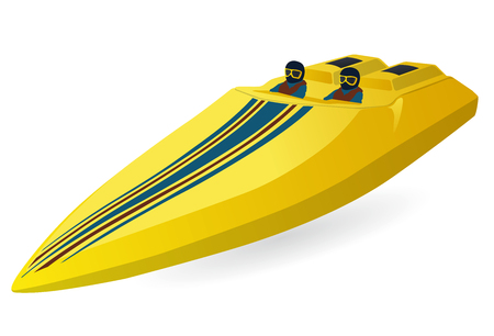 Race sports boat. Luxury expensive yellow motorboat, luxury powerboat, deluxe speedboat.