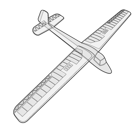 Model glider, ground plan. Beautiful subtle airplane. Balsa wood wings, model hobby. Outlined master   wire illustration