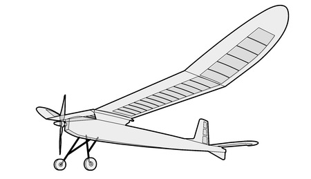 Model glider, ground plan. Beautiful subtle airplane. Balsa wood wings, model hobby. Outlined master  wire illustration Illustration