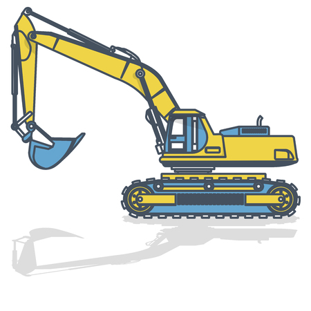 Blue yellow outlined large excavator, digger on white. Digging of ground. Construction machinery and ground works. Professional flatten isolated   illustration