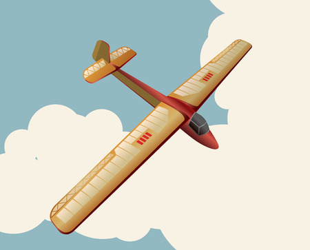 Model glider flying over sky with clouds in vintage color stylization. Old retro subtle airplane designed for poster printing. Balsa wood wings, model hobby. Ilustracja