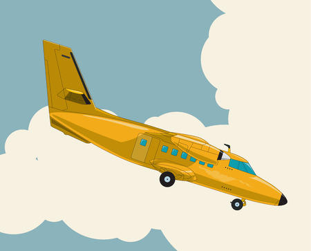 Airplane flying over sky with clouds in vintage color stylization. Old retro yellow airplane designed for poster printing. Balsa wood wings, model hobby. Stock Illustratie