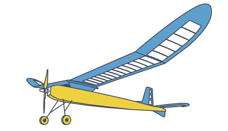 Outlined glider, beautiful subtle airplane model. Balsa wood wings, hobby model, ground plan.