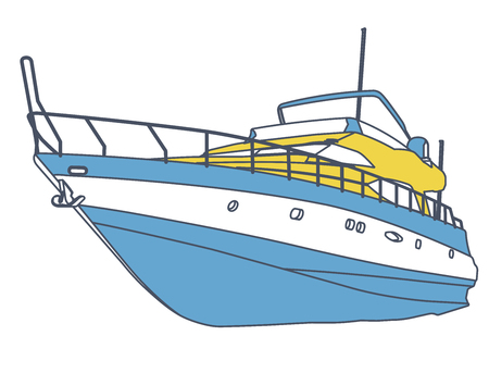 Blue yellow motor boat. Outlined sea yacht for fishing and leisure time. Luxury expensive motorboat, luxury powerboat, deluxe speedboat. Stock Illustratie