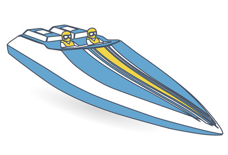 Race sports boat. Outlined blue yellow motorboat, luxury powerboat, deluxe speedboat.