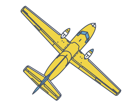 Airplane flying through in vintage color stylization. Outlined retro yellow airplane designed for poster printing.