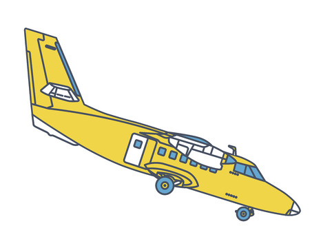Airplane flying through in vintage color stylization. Outlined retro yellow airplane designed for poster printing. Balsa wood wings, model hobby.