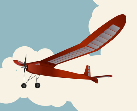 Model glider flying over sky with clouds in vintage color stylization. Old retro subtle airplane designed for poster printing. Balsa wood wings, model hobby. Stock Illustratie