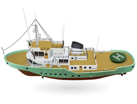 Research vessel, marine exploration boat for scientists. Rescue vessel with sonar, new modern motorboat for discovering water. Vector illustration, isolated on white background Stock Illustratie