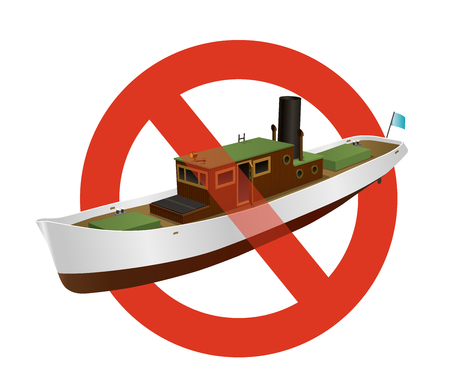 Prohibition of river steamer with large chimney. Strict ban on construction of a motor boat. Sea steam for fishing, stop steamboat. Retro motorboat. Vector illustration, isolated on white background