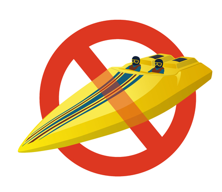 Prohibition of race sport boat. Strict ban on construction of a luxury yellow motorboat, stop powerboat, deluxe speedboat. Vector illustration, isolated on white background