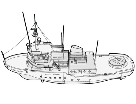 Research vessel, marine exploration boat for scientists. Outlined rescue vessel with sonar, a new modern motorboat for discovering water. Vector illustration, isolated on white background