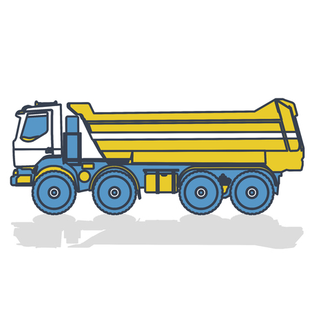 Blue yellow outlined truck, heavy truck. Flatten transport equipment element. Icon symbol illustration, vector on white background