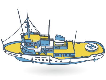 Research vessel, marine exploration boat for scientists. Outlined rescue vessel with sonar, blue yellow motorboat for discovering water. Vector illustration, isolated on white background Stock Illustratie