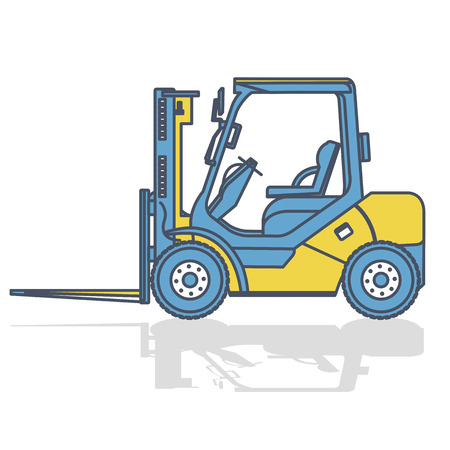 Outlined fork lift loader works in storage on white. Blue yellow construction machinery and ground works. flatten illustration vector icon icon equipment element Truck Crane Excavator