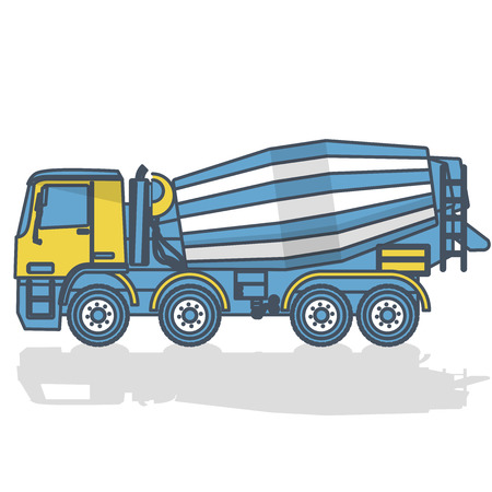 Outlined concrete mixer builds house on white. Blue yellow construction machinery and ground works. Construction tools flatten illustration vector icon, equipment element Truck