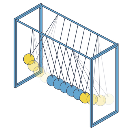 Vector Newton swing in isometric perspective. Blue yellow pendulum cradle metal bolls isolated on white background. Outlined low poly 3d master illustration