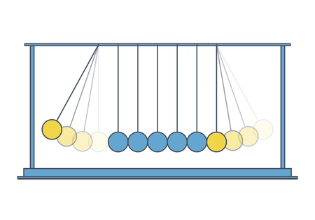 Vector Newton swing. Blue yellow outlined pendulum cradle metal bolls. Flatten master illustration Illustration