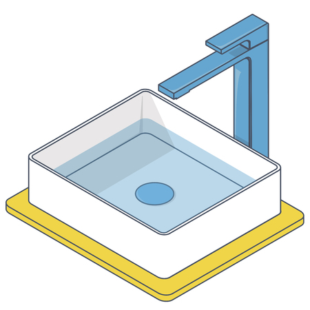 Outlined bathroom sink. Isometric basin with tap and water. Blue yellow kitchen inside info graphic element on white. Pictogram domestic cleaner set. Flatten isolated master vector illustration
