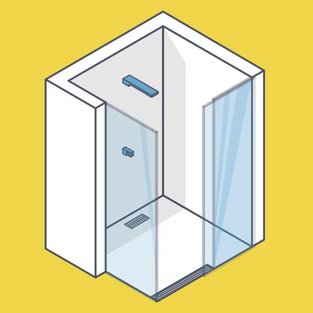 Cabine de douche profilée avec portes coulissantes en verre. Salle de bain blanche moderne. Douche sans barrière de vecteur en perspective isométrique. Équipement sanitaire isolé. Illustration jaune bleu