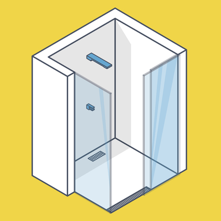 Outlined shower enclosure with sliding glass doors. Modern white bathroom. Vector barrier free shower in isometric perspective. Isolated sanitary equipment. Blue yellow illustration Illustration