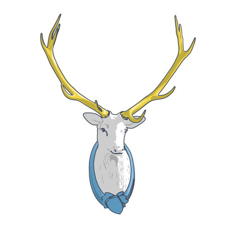 Outlined mounted head of deer. Blue yellow stuffed stag with monumental antlers. Hunting antique trophy. Taxidermy of deer´s head hung on white. Flatten illustration master vector Illustration