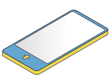 Outlined vector mobile phone in isometric perspective. Blue yellow wireless technology, smartphone, digital tablet. Communication technologies illustration. Isolated, white background, mobilephone