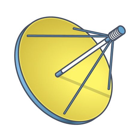 Outlined vector satellite dish, isometric perspective, white background. Blue yellow transmission aerial, telephone, television signals, TV receiver. Communication antenna sign, wireless technology Illustration