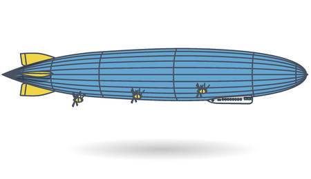 Outlined huge zeppelin airship filled with hydrogen. Blue yellow stylized flying balloon. Big dirigible, propellers and rudder. Long zeppelin, white background, airship. Isolated vector illustration