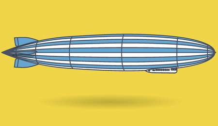 Outlined huge zeppelin airship filled with hydrogen. Blue yellow stylized flying balloon. Big dirigible, propellers and rudder. Long zeppelin, yellow background, airship. Isolated vector illustration