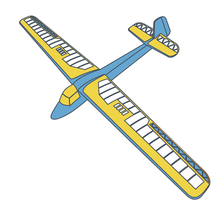 Outlined glider, beautiful subtle airplane model. Balsa wood wings, hobby model, ground plan. Master blue yellow vector illustration