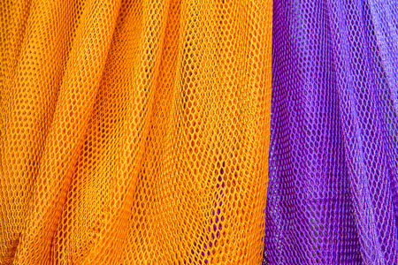 Colorful of fabric Lace rolls in shop, texture background Stock Photo