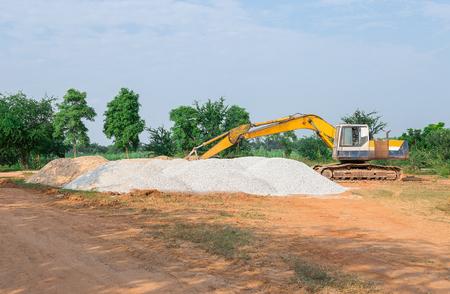 Rural road construction Stock Photo