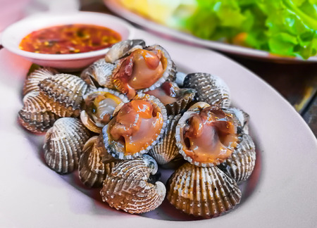 commercial fishing: Scald scallops cockles shell at Thai restaurant