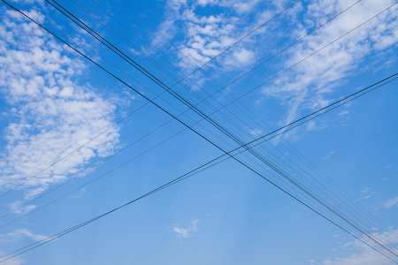 powerline: Powerline on blue sky background