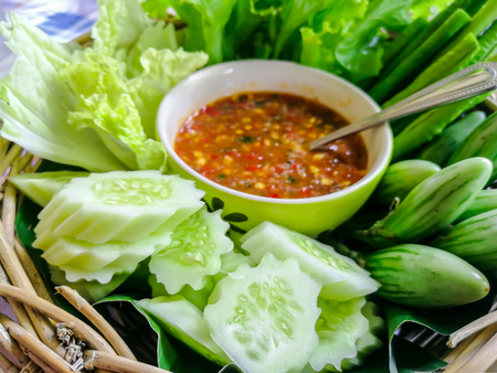 Chili paste(Nam Prik) Thai food : Dried Salted Prawn Chili Paste with mix vegetable