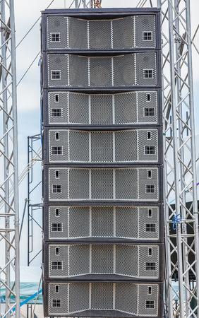 concert Line Array loudspeakers Stock Photo