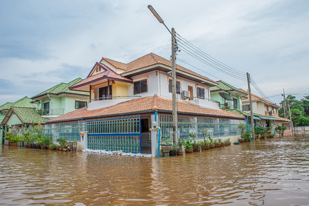 Lopburi, Thailand, in August, 26,2016: The heavy downpour caused a flash flood flooding into public houses.