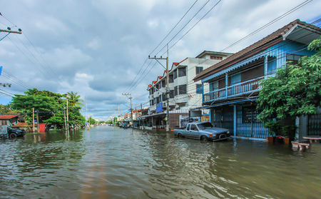 Lopburi, Thailand October 6, 2011: rain for several days, causing flooding streets and public houses. Editorial