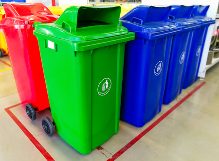 Recycle bins in front of supermarket in thailand Stock Photo