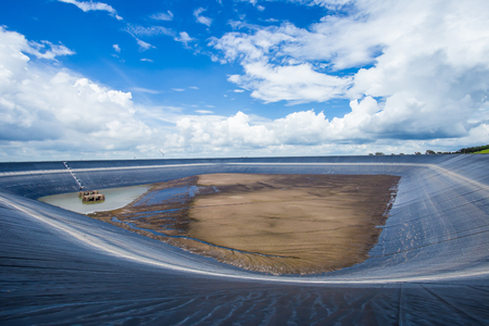 korat: Large reservoirs use plastic to support water for electricity generationlamtakong nakhonratchasima thailand Stock Photo