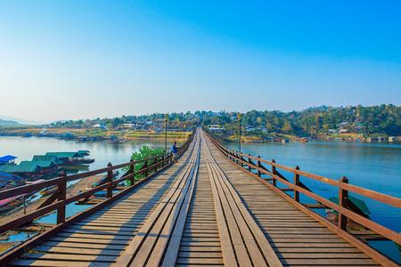 Mon Bridge The old wooden and long bridge in Thailand Sangkhlaburi Kanchanaburi