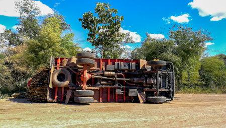 Kalasin, Thailand  05  January  2018  Big truck accident overturns on rural Thai roads