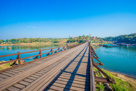 Mon Bridge The old wooden and long bridge in Thailand Sangkhlaburi Kanchanaburi