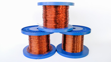 A roll of copper wire; isolated on the white background