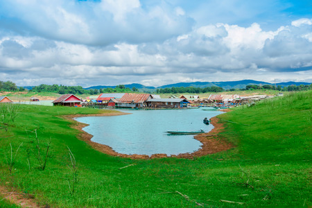 View of curve river and raft house in Kanjana Buri Thailand