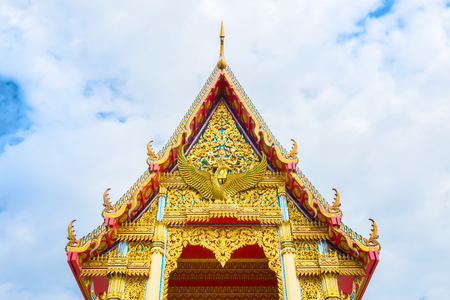 Roof top of Buddhist temple in Bangkok, Thailand Stock Photo