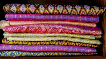 kalasin,thailand,4,april,2017:Handmade Thai pattern sarong pattern in Thailand market